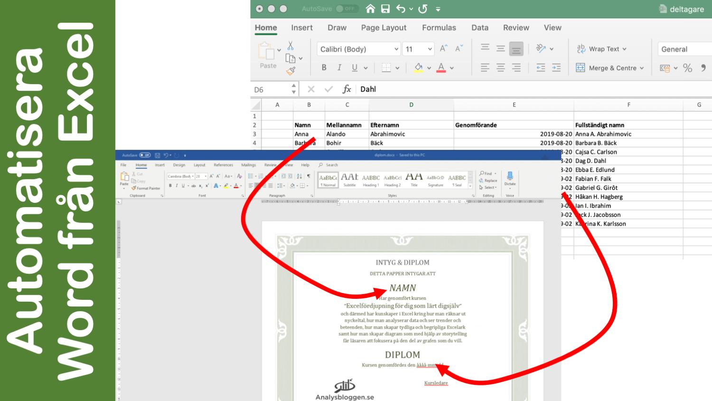 Mail merge i Word hämtar data i Excel och skapar word-dokument