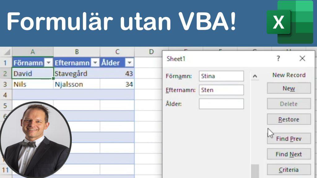 Inmatningsformulär i Excel utan programmering