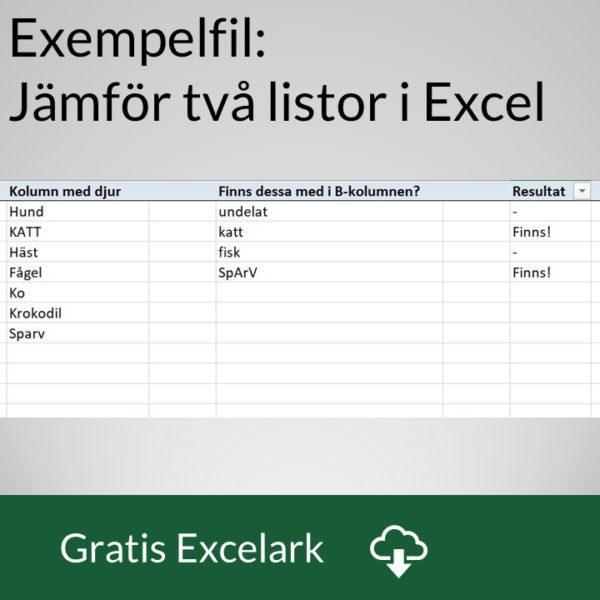 Jämför två listor i Excel