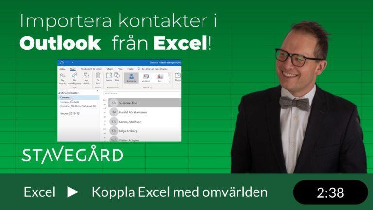 Importera kontakter i Outlook från Excel