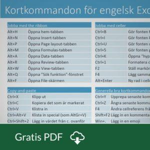 Kortkommandon Eng Excel i Windows