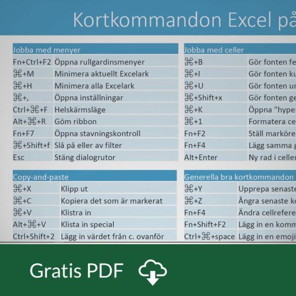 Kortkommandon Excel på Mac OS X