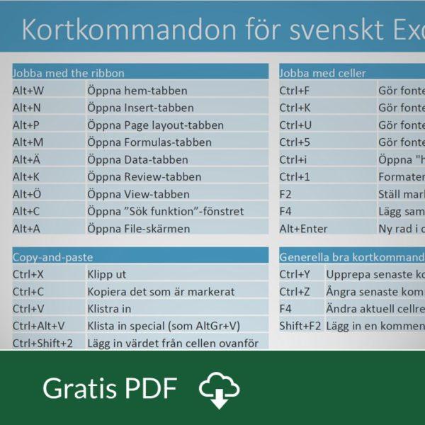 Kortkommandon för Svenskt Excel i WIndows