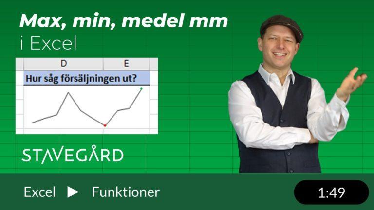 Minimum – Maximum – snabbanalys i Excel