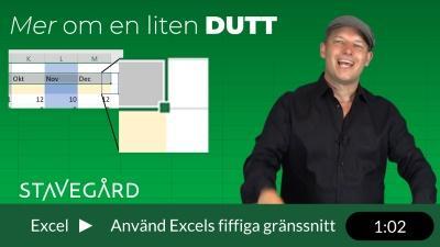 Mer om en liten dutt i Excel