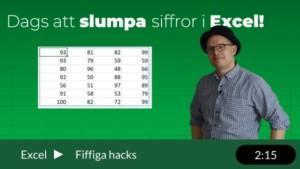 slumptal i Excel, lär dig slumpa fram siffror