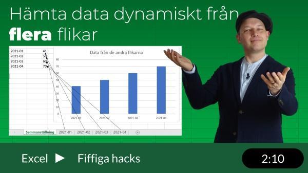 Hämta data från flera flikar till en sammanställning
