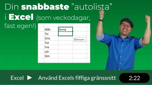 Egen anpassad lista i Excel är snabbt fixat!