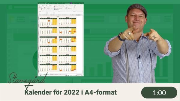 Kalender över 2022 i Excel
