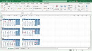 Årskalender för 2020 i Excel