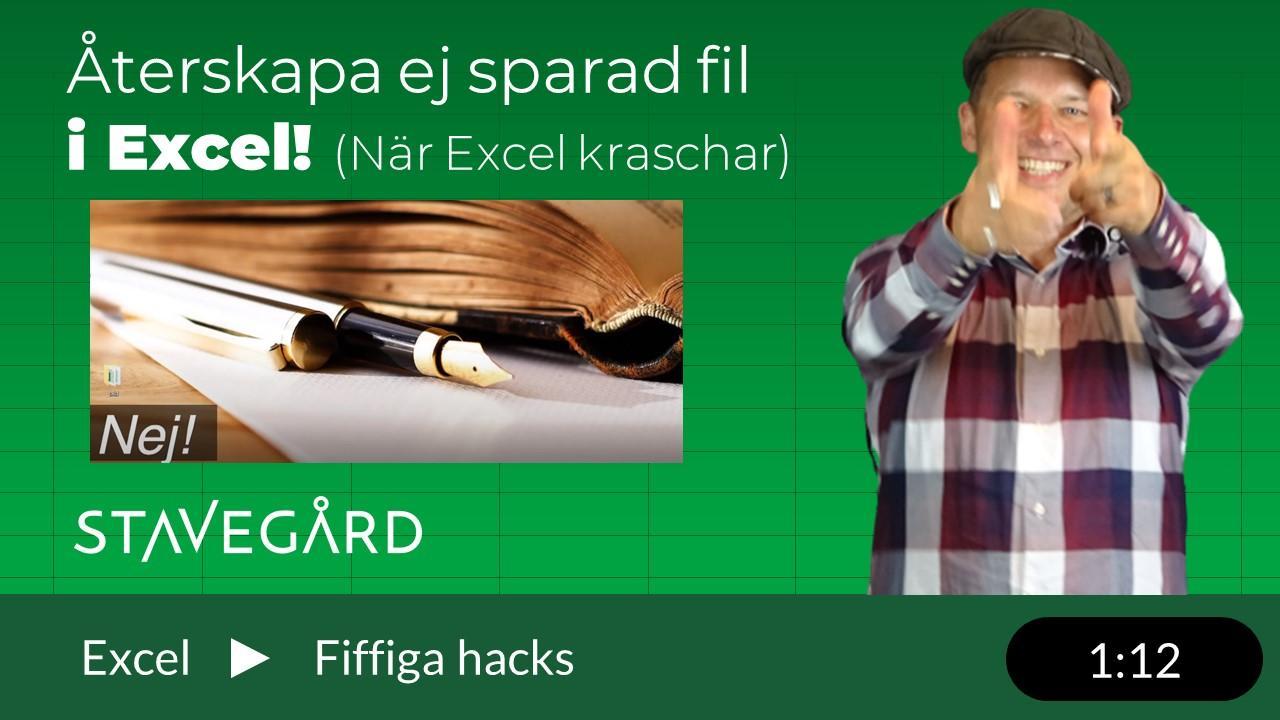 återskapa filer i Excel
