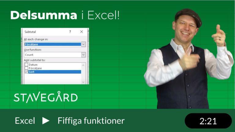 Delsumma eller Subtotal i Excel