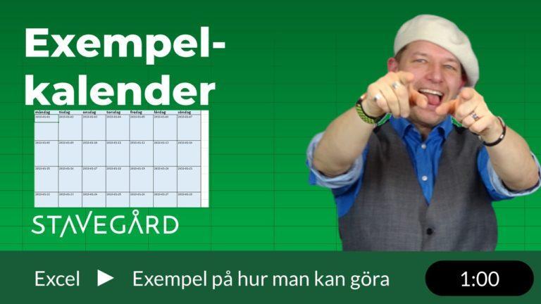 exempelkalender i Excel