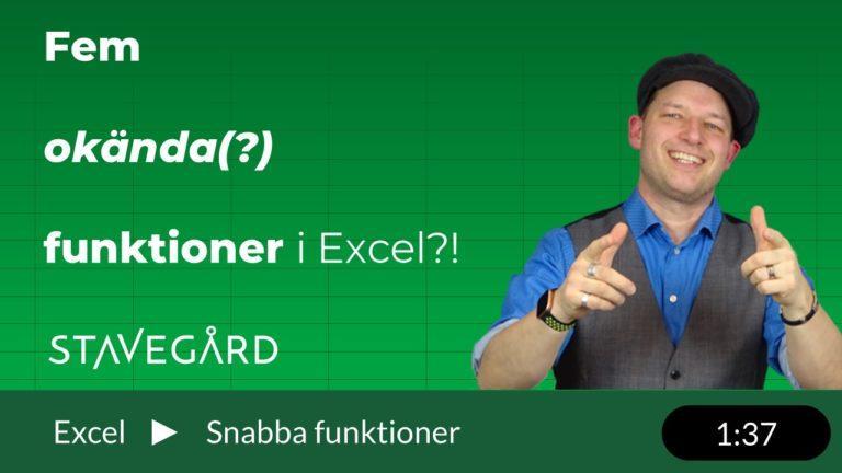 fem okända funktioner i Excel