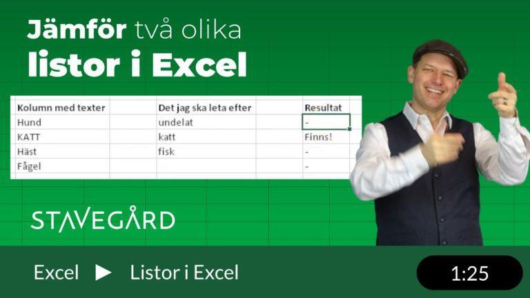 Att jämföra två listor i Excel