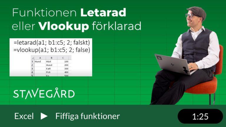 Hur man använder funktionen letarad eller Vlookup i Excel