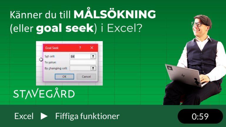 Målsökning eller goal seek i Excel
