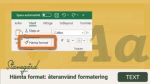 Hämta format: återanvänd formatering på celler