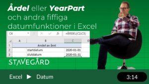 Årdel och andra bra datumfunktioner i Excel