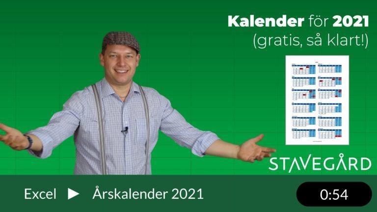 kalender för 2021 i Excel