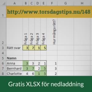 Rätta din tipspromenad eller tenta eller prov så här i Excel