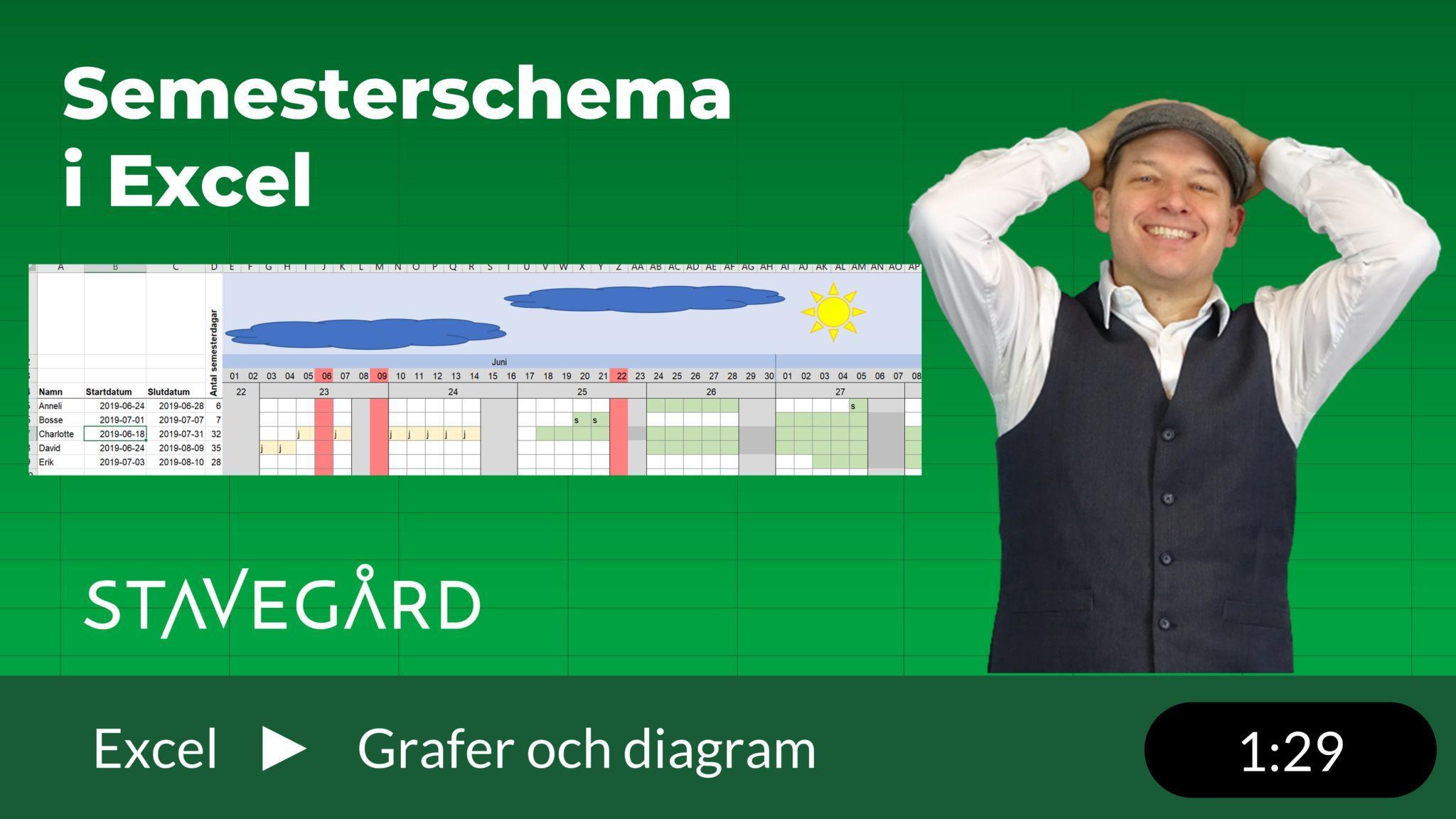 Semesterplanering i Excel med schema
