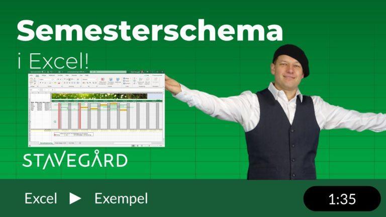 Semesterschema i Excel