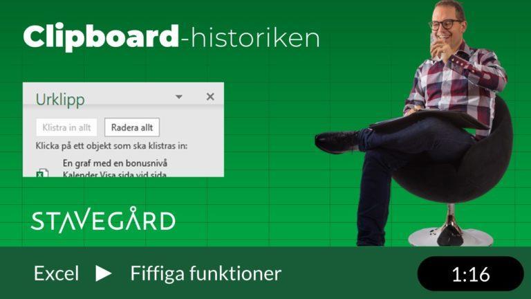 Clipboard-historiken i Excel